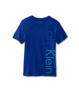 Calvin Klein Kids Iconic V Neck Tee Boys T Shirt (Blue)