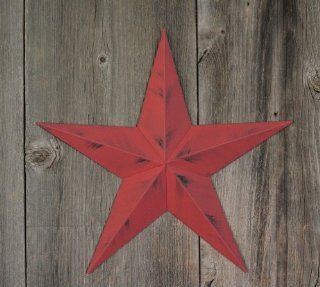 40 Inch Heavy Duty Metal Barn Star Painted Rustic Cranberry. The Rustic Paint Coverage Starts with a Black or Contrasting Base Coat and Then the Star Color Is Hand Painted on Top of the Base Coat with a Feathering Look Which Gives the Star a Distressed App