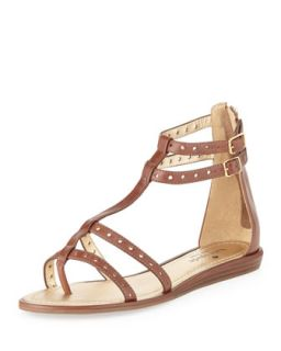 MICHAEL Michael Kors Berkley Leather T Strap Sandal, Luggage