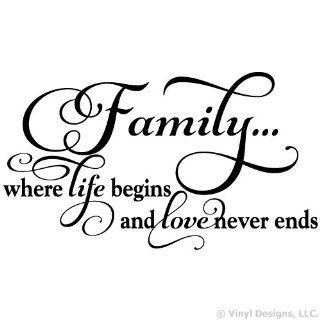 Family Where Life Begins and Love Never Ends Quote Vinyl Wall Decal Sticker Art, Home Decor, Black