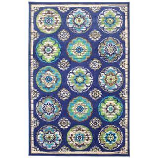 Mohawk Home Clover Leaf 8 ft x 10 ft Rectangular Blue Floral Outdoor Area Rug