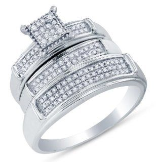 "10K White Gold Prong Set Round Brilliant Cut Diamond Mens and Ladies Couple His & Hers Trio 3 Three Ring Bridal Matching Engagement Ring Wedding Band Set   Square Princess Shape Center Setting   (.37 cttw.)   SEE ""PRODUCT DESCRIPTION"" TO CHOO"