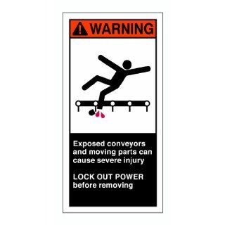 "Brady 96177 Self Sticking Polyester Cema Safety Label , Orange/White On Black,  6"" Height x 3"" Width,  Legend ""Exposed Conveyor And Moving Parts Can Cause Severe Injury Lockout Power Before Removing (W/Picto)"" (5 Labels per Package) In"