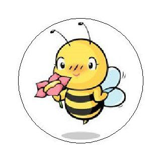 "BUMBLE BEE SMELLING FLOWER Pinback Button 1.25"" Pin / Badge ~ Insect Honey Cute Wings Emo"