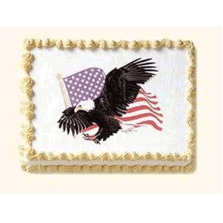 Eagle Cakes   1 Eagle & USA American Flag Do It Yourself Edible Cake Art  Dessert Toppings  Grocery & Gourmet Food