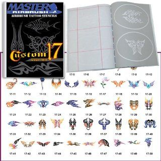 Master Airbrush Brand Airbrush Tattoo Stencils Set Book #17 Reuseable Tattoo Template Set, Book Contains 50 Unique Stencil Designs, All Patterns Come on High Quality Vinyl Sheets with a Self Adhesive Backing.