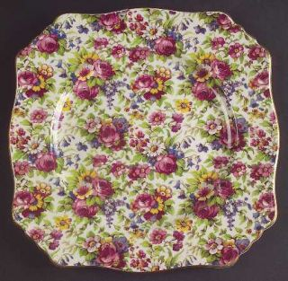 Royal Winton Summertime (Pre 1960,Cream Bck,Gold Tr) Square Luncheon Plate, Fine