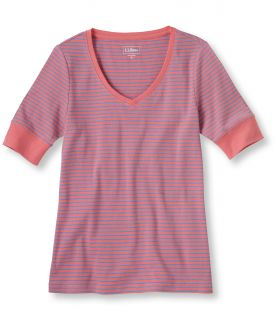 Double L Rib Knit Tee, Elbow Sleeve V Neck Stripe
