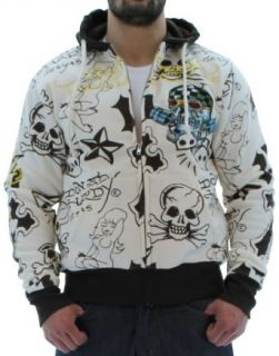 Ed Hardy Christian Audigier Platinum Skull Men's Hoodie Sz 2XL at  Men�s Clothing store