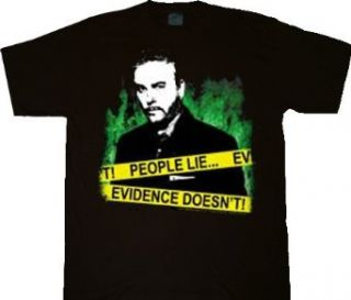 CSI Crime Scene Investigation Peope Lie, Evidence Doesn't Black T shirt Tee Clothing