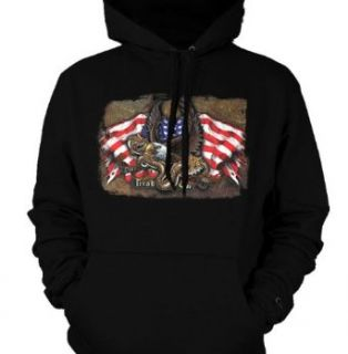 Don't Tread On Me Mens Sweatshirt, U.S.A. Flag Eagle Snake Tattoo Style Design Mens Hooded Pullover Sweater Clothing