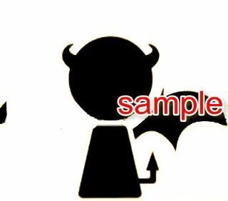 DEVIL SILHOUETTE WHITE VINYL DECAL STICKER  Automobiles