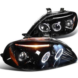 Honda Civic Dx Ex Si 2/3/4Dr Halo Led Projector Headlights Smoked Automotive