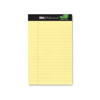 Office Depot(R) Brand Sugar Cane Paper Perforated Pads, 5In. X 8In., 50 Sheets, Canary, Pack Of 12 Pads  Legal Ruled Writing Pads