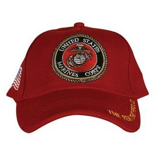 Red US Marines Corps Emblem Embroidered Ball Cap   Adjustable Hat, The Few The Proud  Sports Fan Baseball Caps  Sports & Outdoors