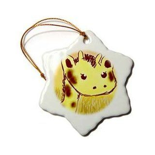 orn_32764_1 Patricia Sanders Creations   Cute Giraffe Face Animals Cartoon Art   Ornaments   3 inch Snowflake Porcelain Ornament
