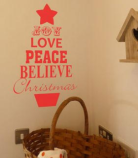 christmas tree quote wall sticker by all things brighton beautiful