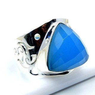 'Serenity' Sterling Silver Blue Chalcedony Ring, Size 9 Jewelry