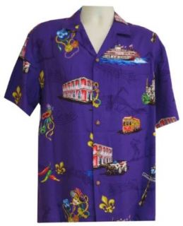 Paradise Found Mardi Gras New Orleans Men's Hawaiian Shirt at  Men�s Clothing store Button Down Shirts