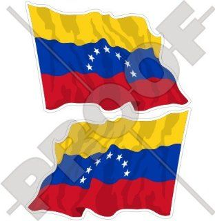 "VENEZUELA Former Civil Waving Flag (7 star) Venezuelan, SOUTH AMERICA 4,7"" (120mm) Vinyl Bumper Stickers, Decals x2"