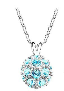 Adaliz Versaille Magic Ocean Line, Plato's Eternity Austrian Swarovski Dazzle Sky blue Crystal, 925 German Sterling Silver Luxury Necklace for Your Miss Special Limited Edition; 18'' Shinny Beautiful Polo Chain & Majestic Jewelry Case; Surp
