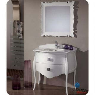 Fresca Platinum Paris 37 Glossy White Bathroom Vanity with Swarovski Handles