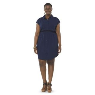 Pure Energy Womens Plus Size Utility Shirt Dress   Navy 4X