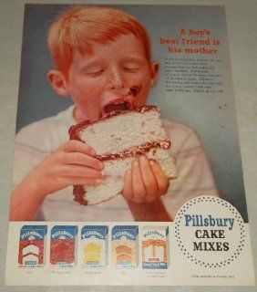 Single Original Vintage Print Ad 1954  Pillsbury Cake Mixes A boy's best friend is his mother, if you have the boy, we have the cake, white, chocolate fudge, golden yellow, spice, angel food, single original vintage print ad