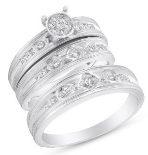 "10K White Gold Round Brilliant Cut Diamond Mens and Ladies Couple His & Hers Trio 3 Three Ring Bridal Matching Engagement Ring Wedding Band Set   Channel Set Center with Prong Set Side Stones   Round Shape Center Setting   (1/4 cttw.)   SEE ""PRODU"