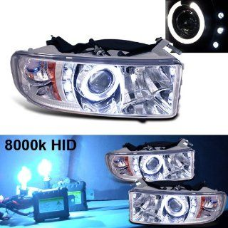 8000k Slim Xenon HID Kit + 94 01 Dodge Ram Halo LED Projector Head Lights Automotive