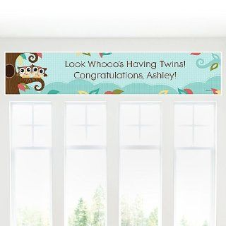 Banner   Owl   Look Whooo's Having Twins   Personalized Baby Shower Banner Toys & Games