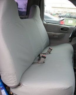 Exact Seat Covers, F243 X7, 1999 2007 Ford F150 and Light Duty F250 Bench Seat Custom Exact Fit Seat Covers, Gray Twill Automotive