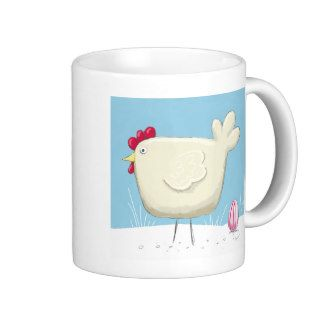 Whimsical Style Hen and Colored Egg Easter Mugs