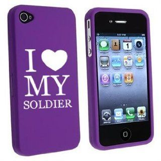 Apple iPhone 4 4S Purple Rubber Hard Case Snap on 2 piece I Love My Soldier Cell Phones & Accessories
