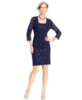 Alex Evenings Dress and Jacket, Sleeveless Lace Overlay Sequin Sheath Cocktail Dress   Dresses   Women