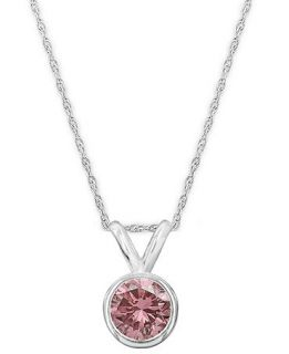 14k White Gold Necklace, Pink Diamond Bezel Pendant (1/4 ct. t.w.)   Necklaces   Jewelry & Watches