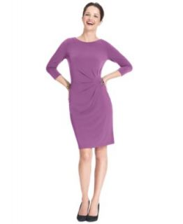 Lauren Ralph Lauren Petite Dress, Three Quarter Sleeve Ruched Cowl Neck   Dresses   Women