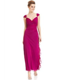 Betsy & Adam Draped Ombre Sparkle Gown   Dresses   Women