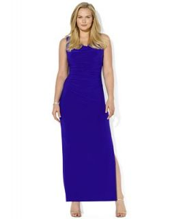 Lauren Ralph Lauren Plus Size Dress, Sleeveless Ruched Cowl Neck Gown   Dresses   Plus Sizes