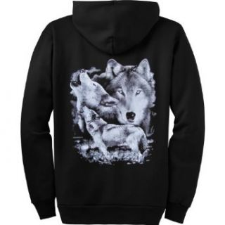 MENS FULL ZIP HOODY  BLACK   XXX LARGE   Wolf Stare   Wildlife Wolves Clothing
