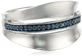 Sterling Silver Blue Diamond Ring, Size 7 Jewelry
