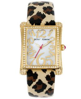 Betsey Johnson Watch, Womens Leopard Print Patent Leather Strap 33x29mm BJ00197 08   Watches   Jewelry & Watches