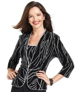 Alex Evenings Petite Jacket & Shell, Three Quarter Sleeve Sparkle   Dresses   Women
