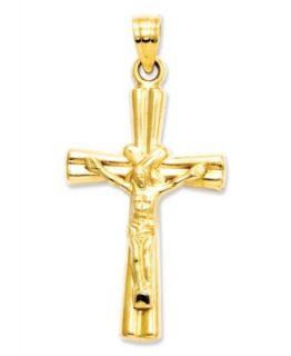 14k Two Tone Gold Tube Crucifix Pendant   Necklaces   Jewelry & Watches