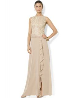Adrianna Papell Dress, Elbow Sleeve Sequined Beaded Gown   Dresses   Women
