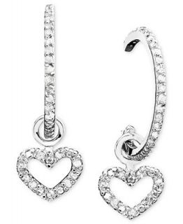 Victoria Townsend Diamond Earrings, Sterling Silver Diamond Heart Charm Hoop Earrings (1/4 ct. t.w.)   Earrings   Jewelry & Watches