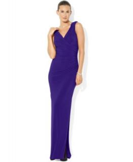 Lauren Ralph Lauren Petite Sleeveless Knotted Jersey Gown   Dresses   Women