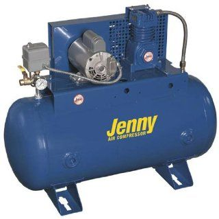 Jenny Compressors J5A 80 208/3 5 HP 80 Gallon Tank 780 Pump RPM 3 Phase 208 Volt, Horizontal Electric Single Stage Stationary Compressor   Stacked Tank Air Compressors