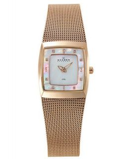 Skagen Denmark Watch, Womens Rose Gold Plated Stainless Steel Mesh Bracelet 380XSRR1   Watches   Jewelry & Watches