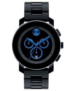 Movado Swiss Chronograph Bold Large Black Polyurethane Bracelet Watch 44mm 3600101   Watches   Jewelry & Watches